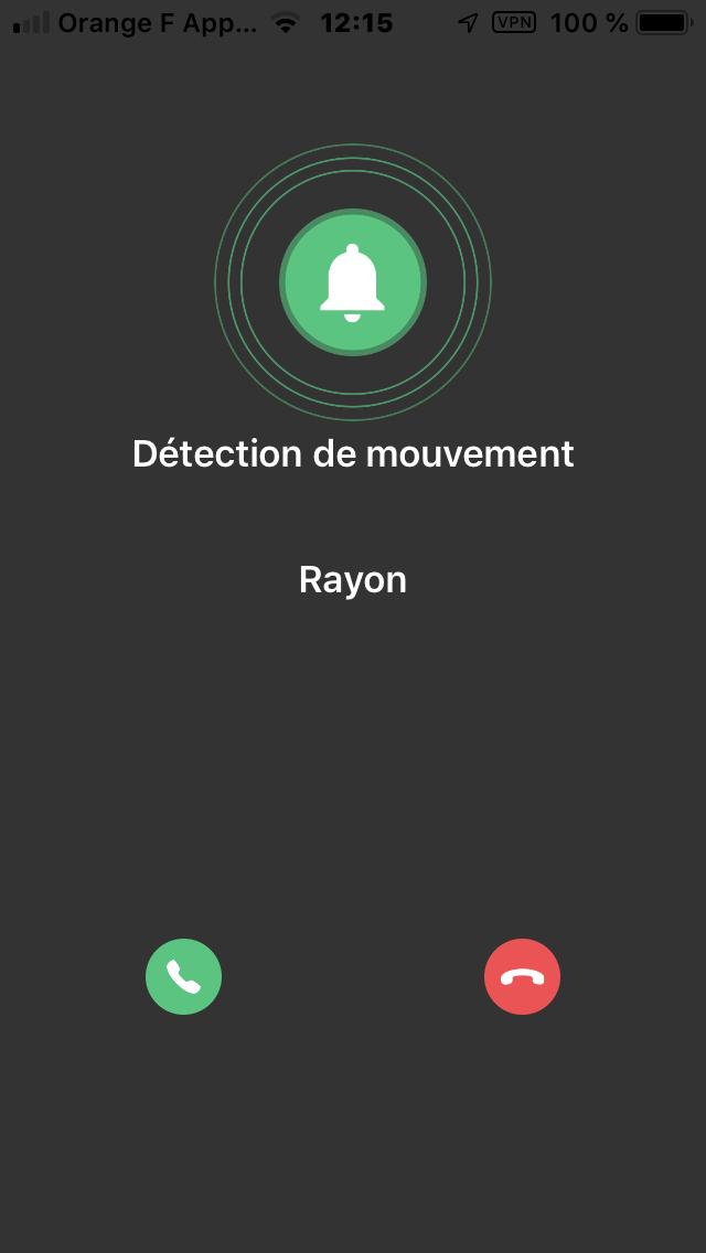 notification alarme de la camera 4G sur smarphone iphone