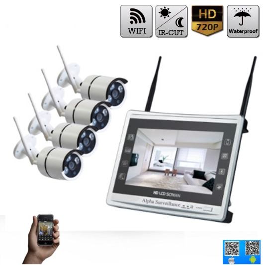 kit vid o surveillance magasin 4 cam ras hd sans fil cran lcd wifi. Black Bedroom Furniture Sets. Home Design Ideas