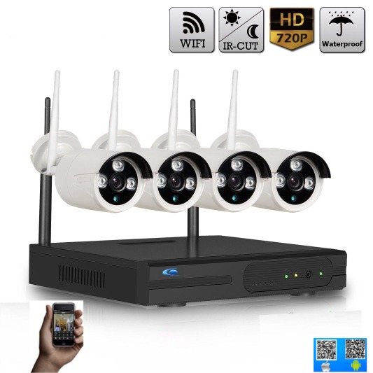 kit vid o surveillance 4 cam ras sans fil wifi pour. Black Bedroom Furniture Sets. Home Design Ideas