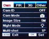 ecran parametrage camera gsm