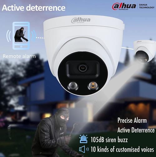 camera de surveillance avec sirene et flash led