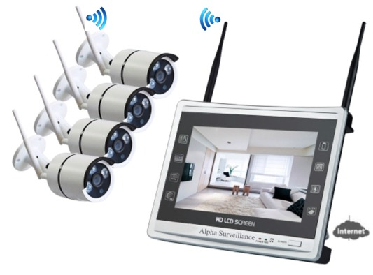 location vid osurveillance 4 cam ras hd sans fil cran lcd wifi. Black Bedroom Furniture Sets. Home Design Ideas