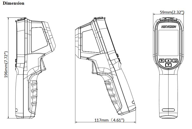 dimensions camera thermique portative